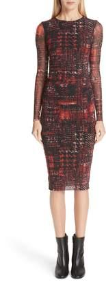Fuzzi Long Sleeve Plaid Tulle Dress