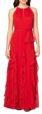 Tahari Arthur S. Levine Chiffon Ruffle Skirt A-Line Gown