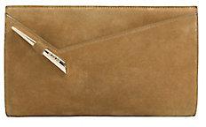 Mugler Starla Zip Suede Clutch: Khaki $695 thestylecure.com