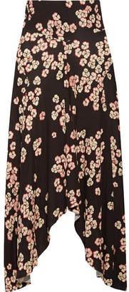 Dracen Asymmetric Floral-print Stretch-jersey Midi Skirt - Dark purple