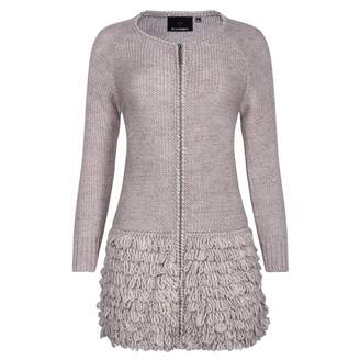 Ny Charisma Grey Wool Blend Coat With Hand Crochet Details
