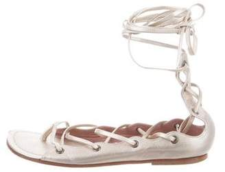 Alaia Leather Lace-Up Sandals