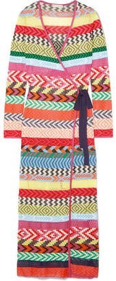 Mary Katrantzou Oceania Striped Knitted Wrap Maxi Dress - Red