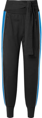 Striped French Cotton-terry Track Pants - Black