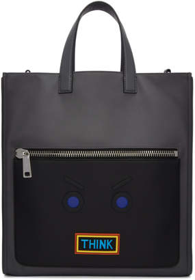 Fendi Grey Faces Think Tote
