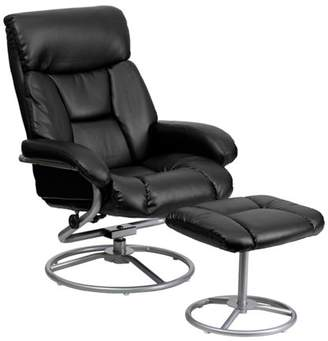 Flash Furniture Contemporary Leather Recliner and Ottoman with Metal Base, Multiple Colors