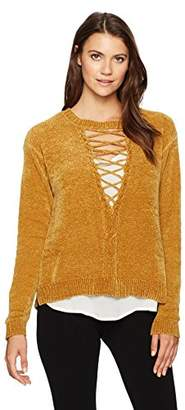 Democracy Women's L/s Cable Front Lace up Two-Fer Sweater