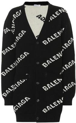 Balenciaga Allover Logo wool-blend cardigan