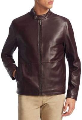 Saks Fifth Avenue COLLECTION Zip Leather Bomber Jacket