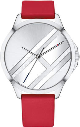 Tommy Hilfiger Women's Red Leather Strap Watch 38mm