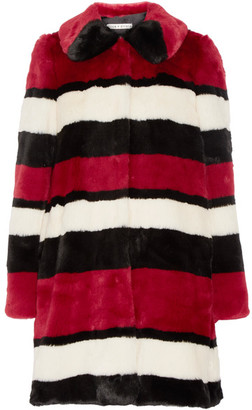 Alice + Olivia - Kinsley Oversized Striped Faux Fur Coat - Claret $750 thestylecure.com