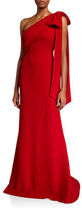 Tadashi Shoji One-Shoulder Crepe Gown with Bow Detail