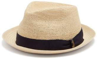 Borsalino Bow Embellished Panama Hat - Mens - Navy Multi