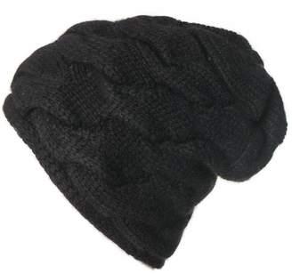 Black Cable Knit Cashmere Beanie