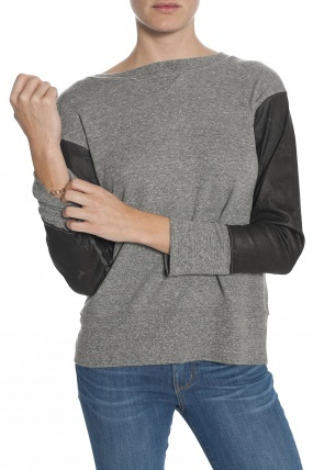 Current/Elliott The Stadium Sweatshirt Heather Grey/Coated Sleeves