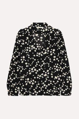 Maje Pussy-bow Floral-print Crepe Blouse - Black