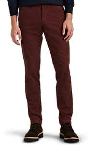 Barneys New York MEN'S COTTON TWILL SLIM TROUSERS - WINE SIZE 28