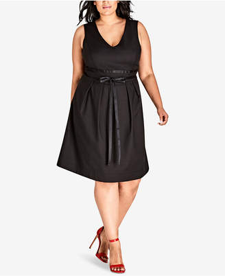 City Chic Trendy Plus Size Ribbon-Belt A-Line Dress