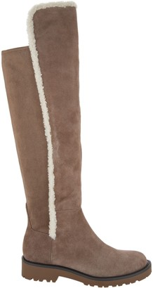 Sole Society Tall Shaft Suede Boots w/ Faux Fur Trim - Juno