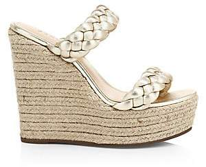 Schutz Women's Dyandre Braided Metallic Platform Wedge Mule Sandals