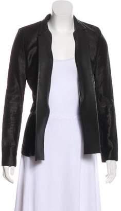 J Brand Leather-Trimmed Structured Blazer