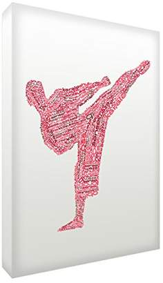 Camilla And Marc Feel Good Art Gallery Wrapped Box Canvas in Typographic Karate Design (60 x 40 x 4 cm, Large, Red Tones)