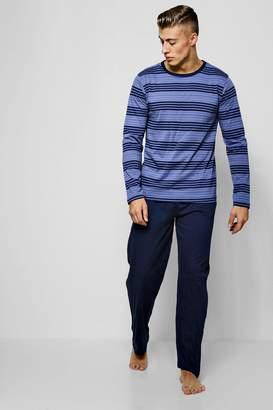 boohoo Stripe Long Sleeve & Pants Pyjama Set