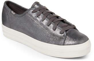 Keds Grey Triple Kick Suede Platform Sneakers