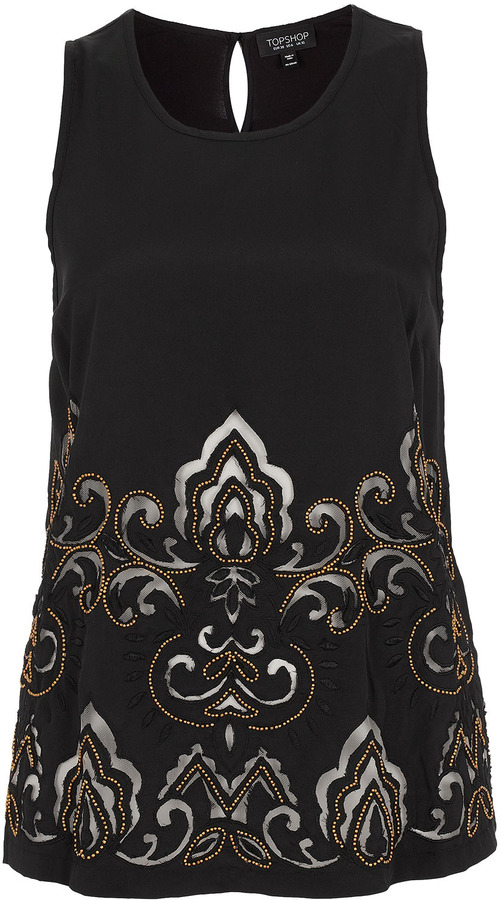 Topshop Cutwork Bead Shell Top