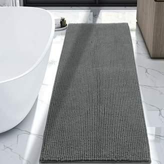 "Lifewit 70.9"" x 25.6"" Bath Runner Rug Area Chenille Mat Rugs Bathroom Living Room Kitchen Machine Washable Shag Rug Grey"