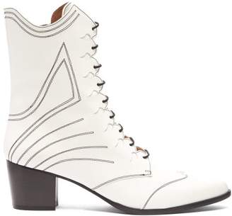 Tabitha Simmons Swing Lace Up Leather Boots - Womens - White