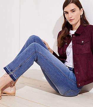 LOFT Tall Modern Slit Unpicked Straight Leg Jeans in Mended Mid Indigo Wash