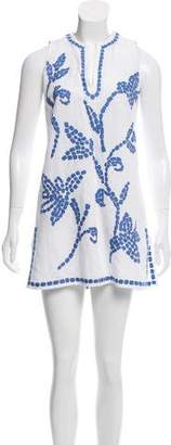 Tory Burch Embroidered Linen-Blend Tunic