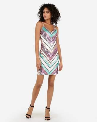 Express Sequin Chevron Mini Sheath Dress
