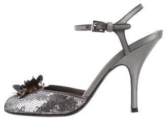 Prada Sequined Ankle Strap Sandals