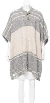 Raquel Allegra Striped Alpaca-Blend Poncho