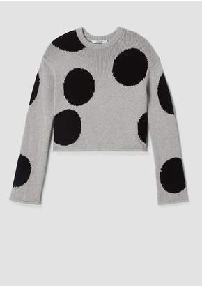 Derek Lam 10 Crosby Cropped Polka Dot Chunky Cotton Sweater
