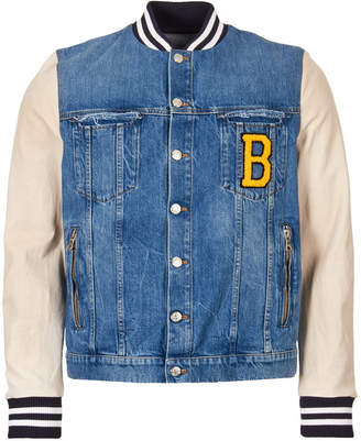 Jacket Denim and Leather - Blue / White