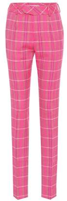 Matthew Adams Dolan Plaid wool mid-rise slim pants