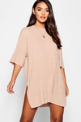boohoo Petite Rib Knitted Slouchy T-Shirt Dress