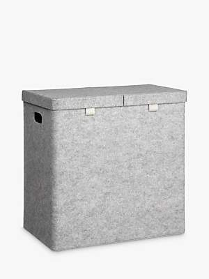 John Lewis & Partners House by Felt Double Laundry Basket, Grey