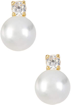 Savvy Cie 18K Over Gold 10Mm Pearl & Cz Earrings
