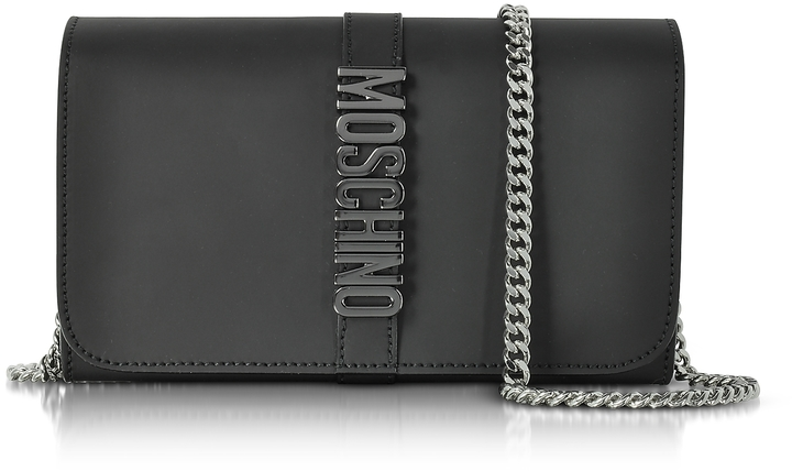 Moschino Moschino Black Leather Wallet w/Chain Strap