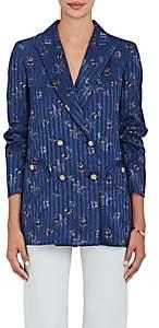 BLAZÉ MILANO Women's Everyday Silk Double-Breasted Blazer - Blue