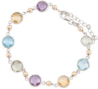Made In Usa 14k Gold & Sterling Silver Multi Gemstone Bracelet