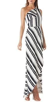 Kay Unger One-Shoulder Cross Front Maxi Dress