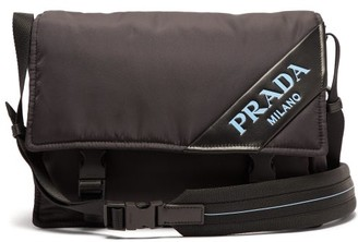 Prada Logo Nylon Messenger Bag - Mens - Black