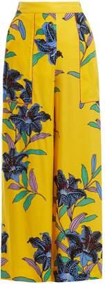 Diane von Furstenberg Floral-print wide-leg twill trousers