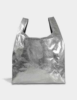 MM6 MAISON MARGIELA Shopper Bag in Silver Snake Printed Synthetic Leather