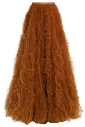 Jenny Packham Bow-Detailed Ruffled Tulle Maxi Skirt